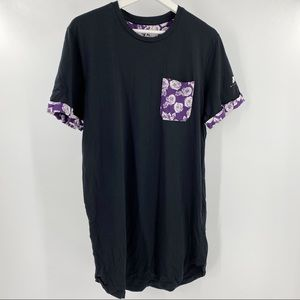 Jack jones black tee with purple floral accents